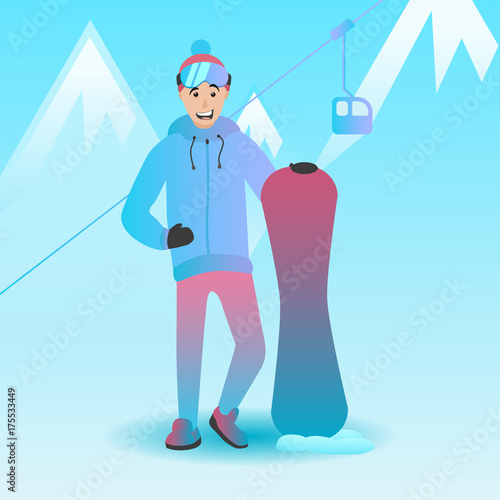 Staande foto Lichtblauw Vector illustration of a snowboarder. Male character holding snowboard. Man with extreme sports equipment. Winter landscape and ski resort.