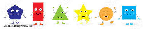 Learning Set of funny basic geometric dancing  cartoon shapes characters for children / vectors illustration for kids on white background