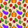 vegetable seamless patterns kawaii characters. Flat design Vector Illustration - 175535288