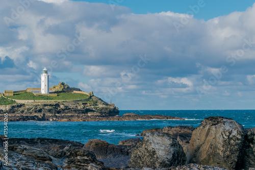Fotobehang Vuurtoren Godrevy Lighthouse
