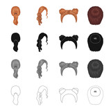 Hair, long,chignon, and other web icon in cartoon style. Barbershop, coiffure, locks, icons in set collection. - 175540660