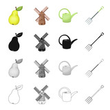 Pear, windmill on the farm, watering can for irrigation, fork tools. Farm and vegetable garden set collection icons in cartoon black monochrome outline style vector symbol stock isometric illustration - 175540831