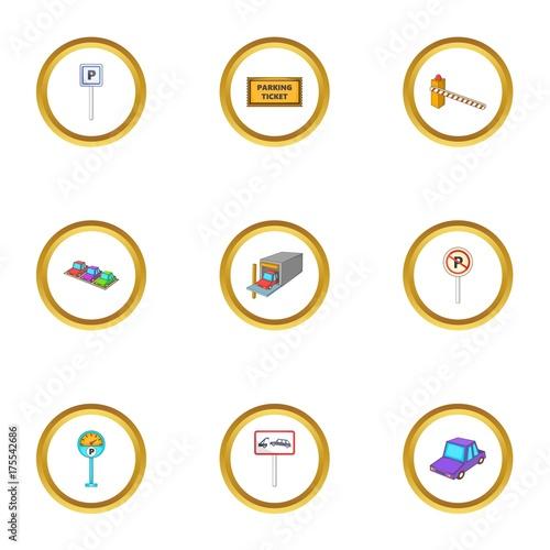 Fotobehang Auto Car parking icons set, cartoon style