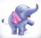 Cute baby elephant, cartoon character. Funny animals 3d vector icon - 175543674