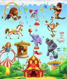Circus funny animals, set of vector icons. 3d vector icon set - 175543867