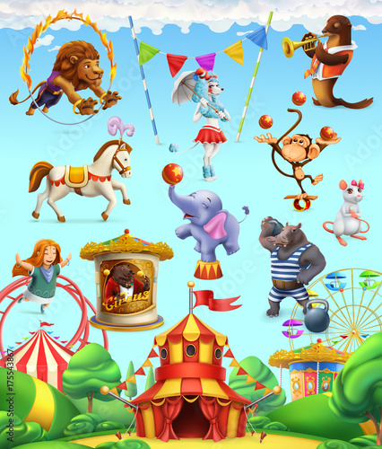mata magnetyczna Circus funny animals, set of vector icons. 3d vector icon set