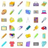 Graphic icons set, cartoon style - 175545208