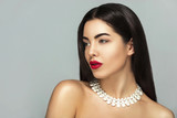 Sensual,Beauty Fashion girl Glamour portrait, Long smooth brunette black hair,Holiday make up,red lips,jewelry - 175547286