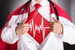 Superhero Doctor Showing Heartbeat Sign