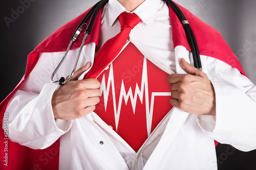 Superhero Doctor Showing Heartbeat Sign Poster