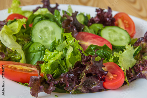 Fresh salad with mixed greens, cherry tomato and cucumber