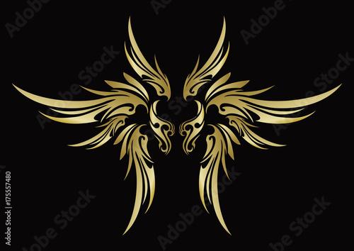 Deurstickers Vlinders in Grunge トライバル 天使の羽 翼