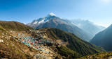 Panoramic view of Namche Bazaar and Thamserku mountain in Solukhumbu district, Nepal