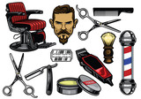 barbershop object set in color - 175562468