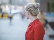 Outdoors portrait of beautiful young woman in a red blouse. Selective focus. - 175564663