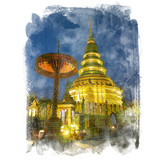 The golden pagoda on blue sky background, Wat Prathat Haripunchai, Lumphun, Thailand (public place). Watercolor painting (retouch). - 175565001