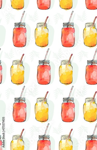Hand drawn vector abstract summer time organic fresh fruits seamless pattern - 175571435