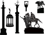 six sculptures sketches isolated on white - 175574074