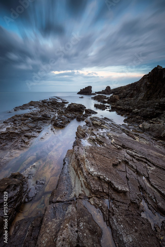Tuinposter Zwart Sea rocks / Long exposure seascape with sea rocks at the Black sea coast, Bulgaria
