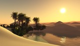 oasis in the sandy desert, sunset over the sands with palm trees and a lake  - 175582662
