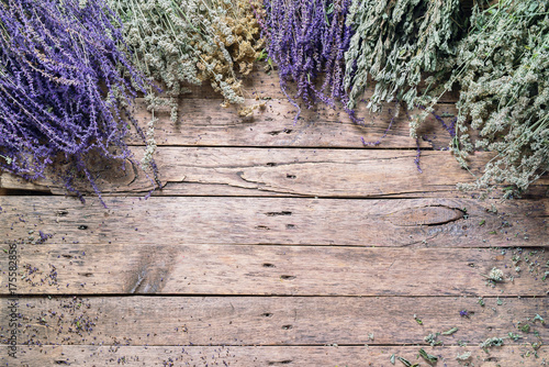 Dry Herbs Sage Nettle Yarrow Mint Different Assortment Plakat