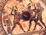 Detail from an old historical greek paint reproduction over a terracotta dish. Unknown mythical heroes and gods fighting on it - 175583459