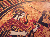 Detail from an old historical greek paint. Mythical heroes and gods fighting on it - 175583461