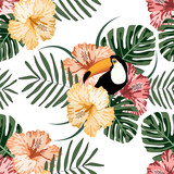 Tropical seamless pattern with colorful toucans,flowers and leafs.Summer vector background.Textile texture