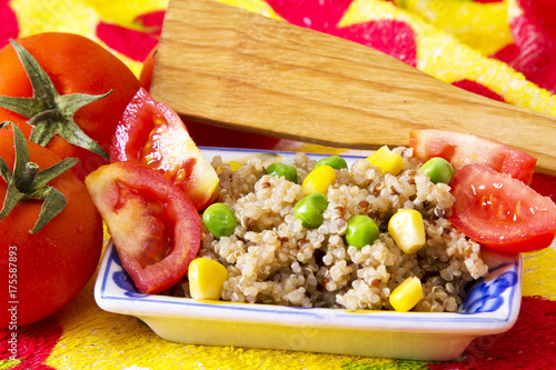 salad plate with quinoa with tomato - 175587893