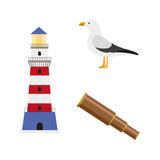 vector flat cartoon nautical, marine symbols set. seagull bird, lighthouse and wooden spyglass. Isolated illustration on a white background.