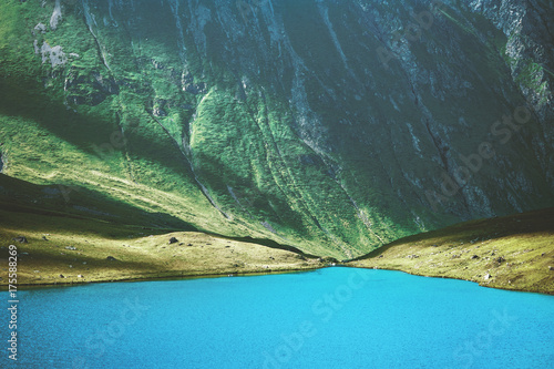 Deurstickers Groen blauw Blue Lake in Mountains Landscape Summer Travel serene summer aerial view.