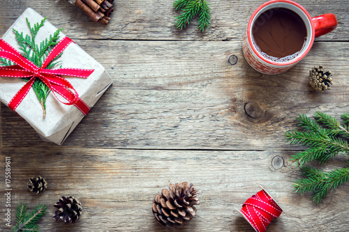 Poster Chocolade Christmas background with gift box