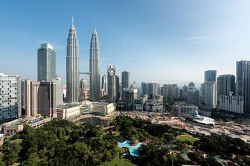 Kuala Lumpur skyline and skyscraper in Malaysia. Downtown business district center of Kuala lumpur seeing Petronas twin tower in Malaysia. Asia.