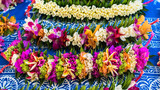 Garlands of fresh flowers in French Polynesia, traditional flowers crowns