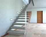 Scala in marmo con parapetto in vetro - 175598493