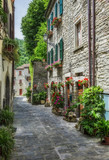 old street with flowers in Italy - 175603645