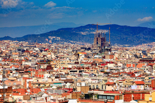 Keuken foto achterwand Barcelona Panoramic view of the city of Barcelona, Spain