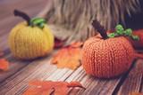 Knit orange pumpkin decorations - 175604238