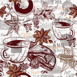 Coffee vector pattern background with engraved coffee cups, grains, maple and star anise - 175610016