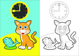 cat eat fish vector cartoon for coloring book or page