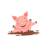 Cute happy pig bathing in a dirty pool, funny cartoon animal vector Illustration - 175613273