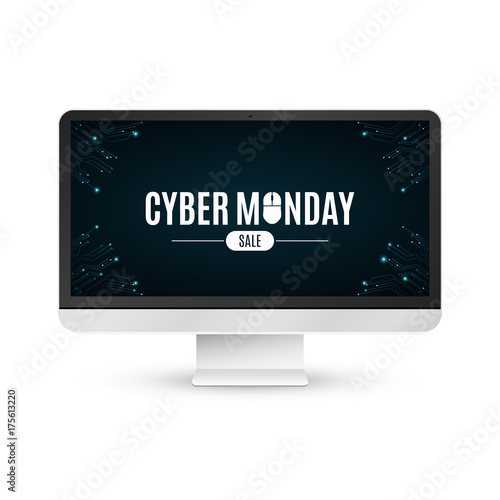 Modern LCD monitor on a white background with an inscription cyber Monday sale. Computer circuit board. Isolated on white background. Computer mouse. Vector