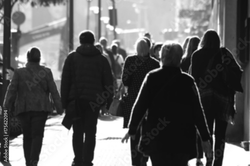 Crowd with people on the street. Black and white - 175622094