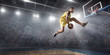 Basketball player makes slam dunk on big professional arena. Player flies through the air with the ball. Player wears unbranded clothes.