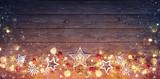 Christmas Vintage Card - Decoration And Lights On Dark Table - 175628817