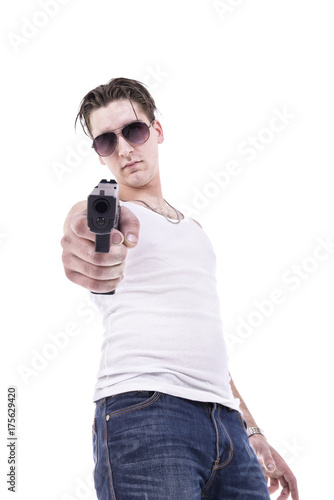 Bad guy pointing handgun, isolated on white background. Poster