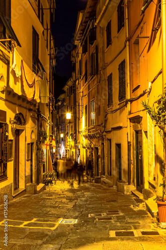 Deurstickers Smal steegje Old narrow street in the night, Portovenere, Liguria, Italy