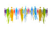 Leinwanddruck Bild - Silhouette von vielen bunten Menschen in einer Gruppe, Menschengruppe