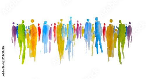 Leinwanddruck Bild Silhouette von vielen bunten Menschen in einer Gruppe, Menschengruppe