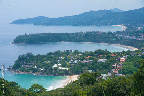 Fotobehang Blauwe jeans Top view beach in phuket island